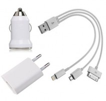 Kit 3 em 1 p/ Iphone 5/4 e Micro USB (V8)