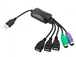 Adaptador Ps/2 / USB - Teclado e Mouse+ Hub 3 USB