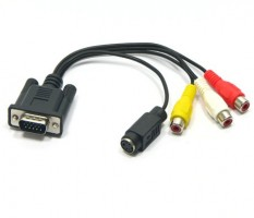 Cabo Conversor VGA (M) p/ Audio RCA (F) + S-VIDEO