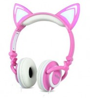 "Headphone Stéreo ""orelhas de gato"" c/ LED ""HF-C22"" - ROSA/BRANCO"
